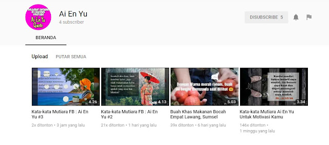 Mau Update Video Kata-Kata Mutiara Di Youtube? Coba Subscribe Channel Ai En Yu