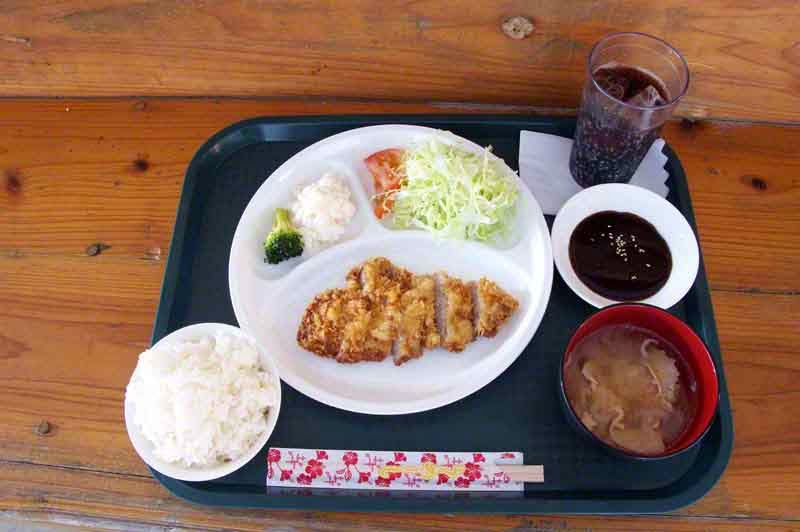 pork cutlet, tray, soup, salad, rice