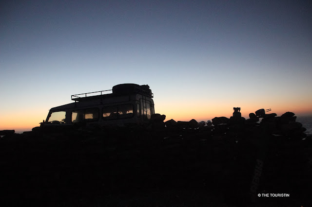 South Africa, Camping, sunset, clear night. Land Rover