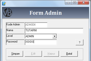 Tutorial Membuat Form Admin / Kasir Program Aplikasi Penjualan VB 6.0 - Part7