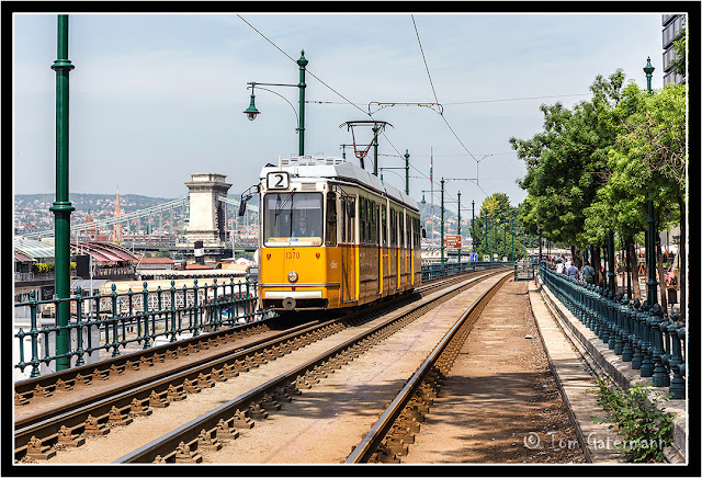 Tram 1370 Is Rolling Along the Danube Promenade In Budapest