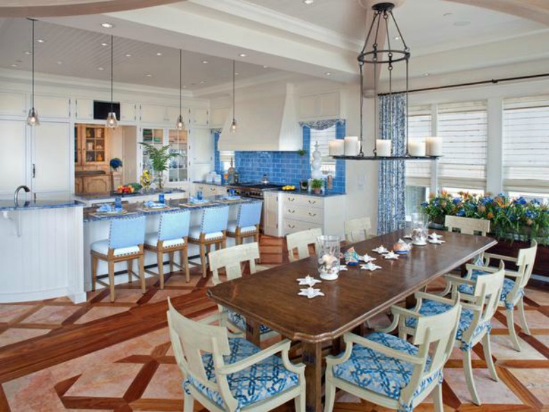 coastal, aqua blue and white, kitchen and dining room