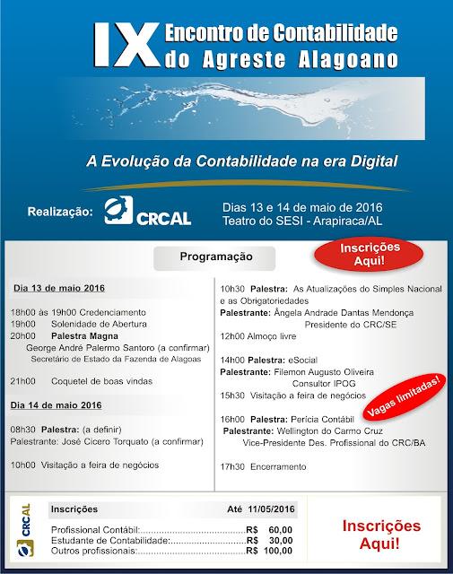 IX Encontro de Contabilidade do Agreste Alagoano - Arapiraca - contadores arapiraca, encontro crc al
