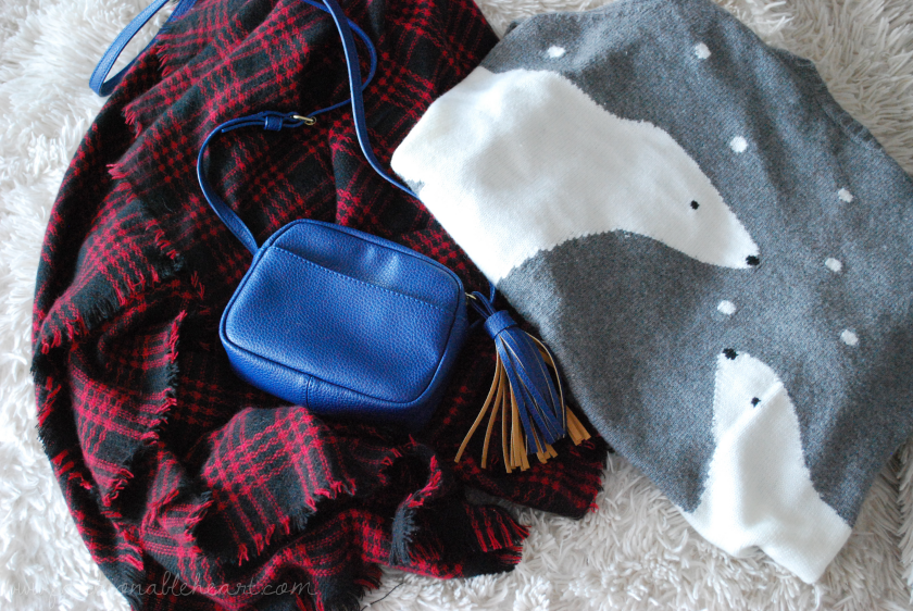 bbloggers, bbloggersca, beauty blogger, christmas gifts, holiday, fbloggers, lbloggers, fashion, style, f21, forever 21, ricki's fashion, gap, polar bear sweater, crossbody bag, blanket scarf, plaid