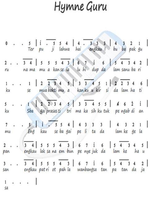 Not Angka Lagu Hymne Guru Kumpulan Not Lagu