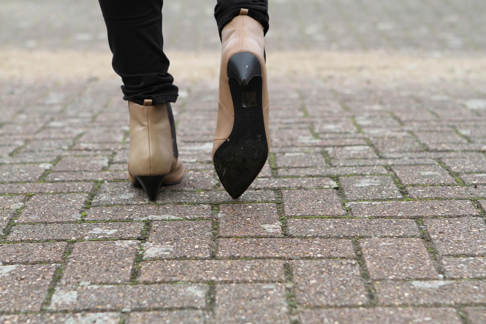 beige chelsea boots with kitten heels