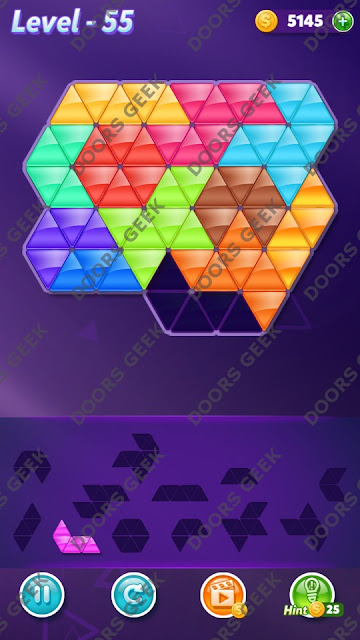 Block! Triangle Puzzle Grandmaster Level 55 Solution, Cheats, Walkthrough for Android, iPhone, iPad and iPod