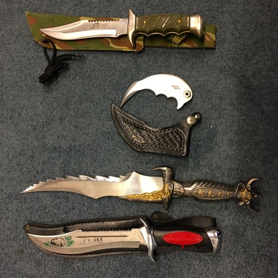 Photograph of some of the knives surrendered during the 2017 amnesty Image courtesy of Hertfordshire Constabulary