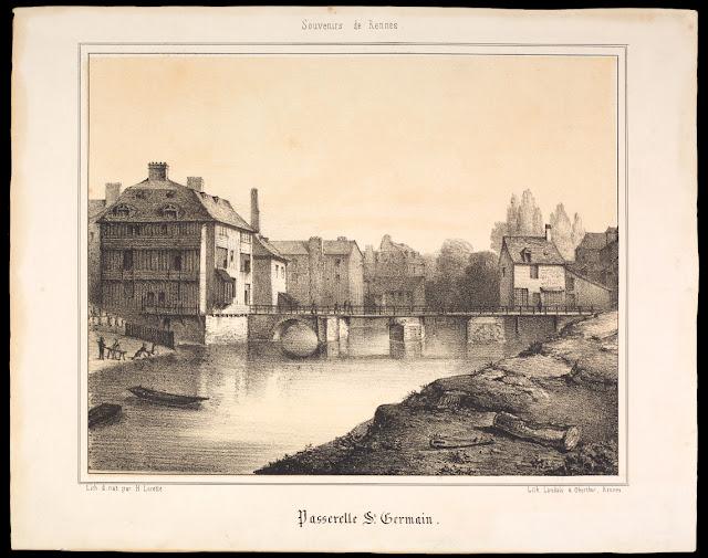 « Passerelle Saint-Germain » - Lithographie par Lorette Hyacinthe (milieu du 19e siècle)