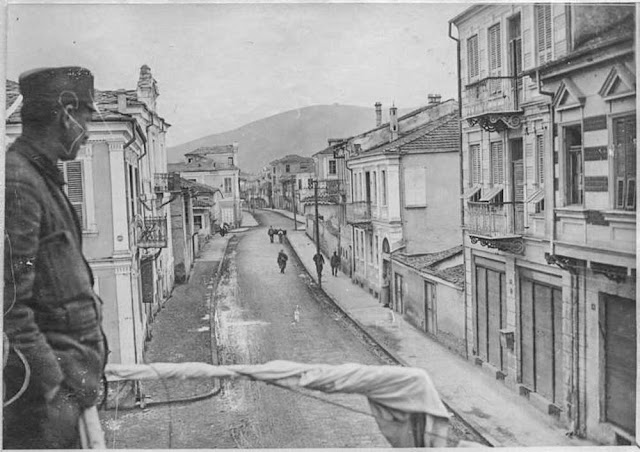 In the streets of Bitola (Monastir) (March 1917). La Grande Rue: Looking south