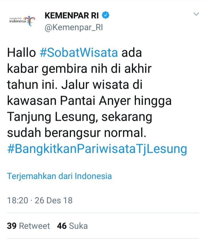 Kementerian Pariwisata Cuit Ini Soal Tanjung Lesung, Netizen Marah Besar!