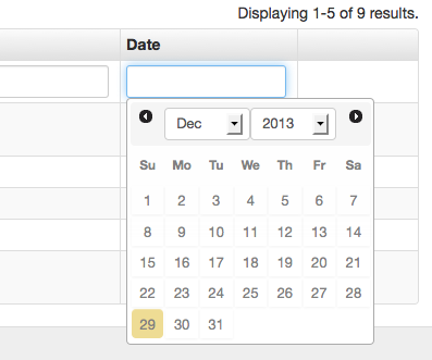 How to use calendar to filter list data in CGridView - SOScode