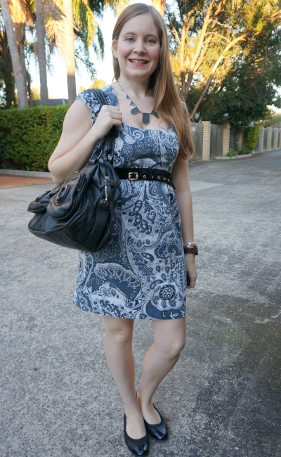 office french connection paisley print sheath dress black accessories and mimco button bag | away from blue