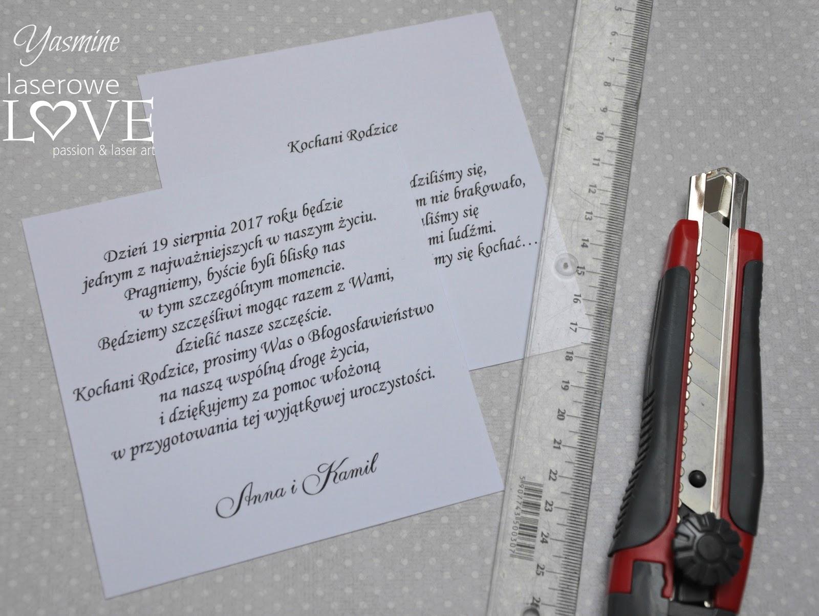 Laserowe Love ślubne Diy Wyjątkowe Zaproszenie Na ślub Dla Rodziców