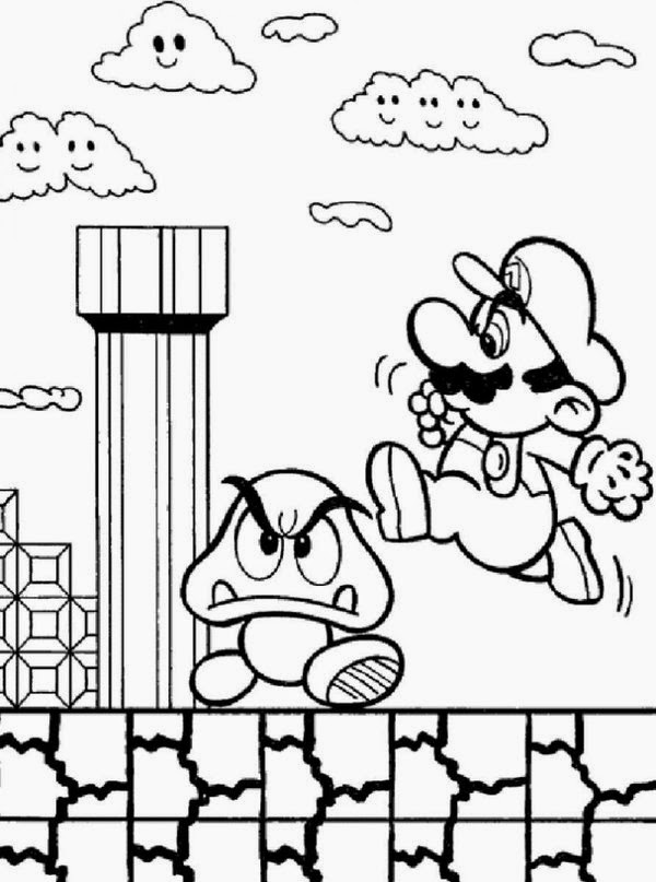 online coloring super mario bros coloring pages for kids