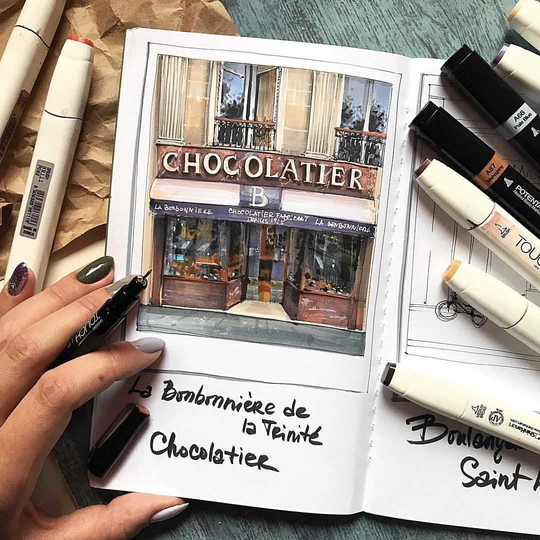 07-Chocolate-Shop-Katerina-Kurtakova-Бровка-Катерина-Architectural-Drawings-with-Urban-Sketches-www-designstack-co