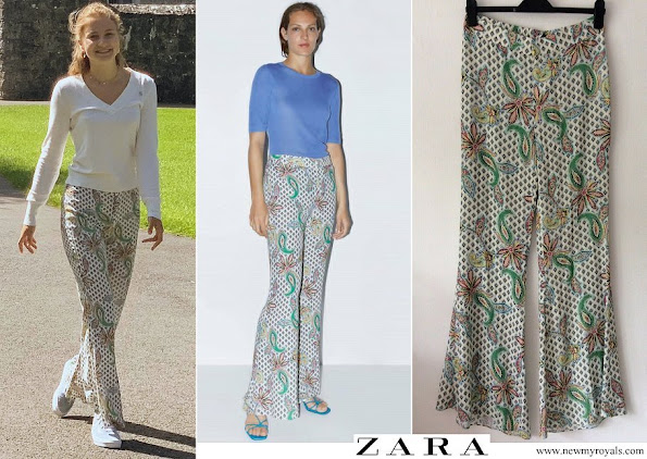 Crown Princess Elisabeth wore Zara pink and blue paisley floral print flared trousers
