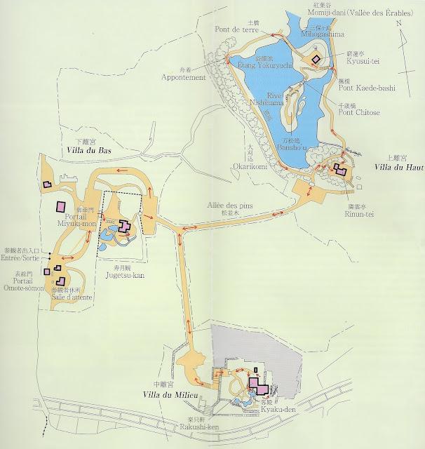 Plan de la villa Shugaku-In de Kyoto