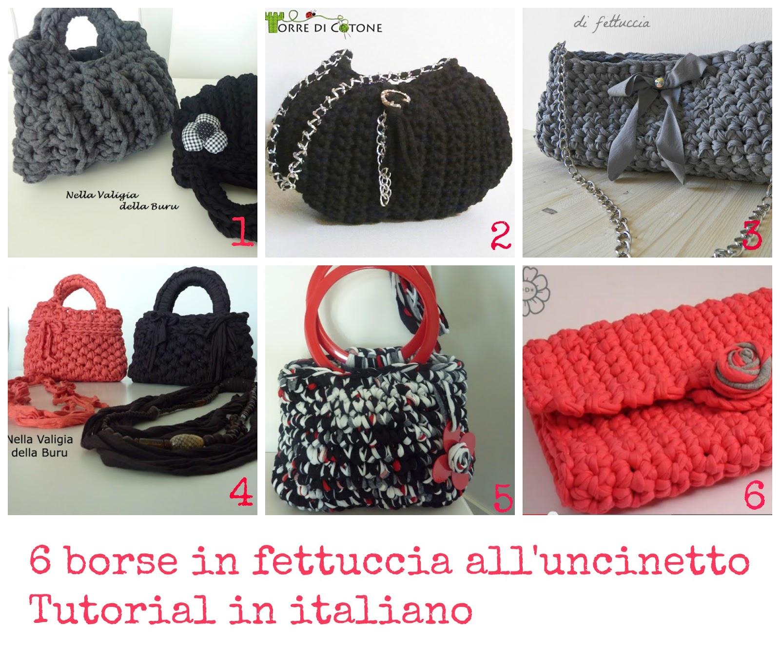 da13e0fde1dce 6 borse in fettuccia all uncinetto Tutorial in italiano ...