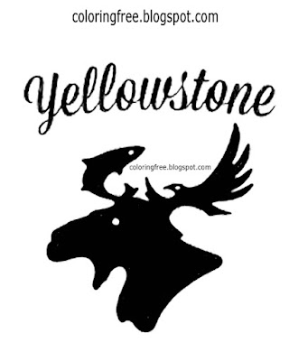 Black and white printable moose Yellowstone park logo coloring pages American wildlife kids drawings