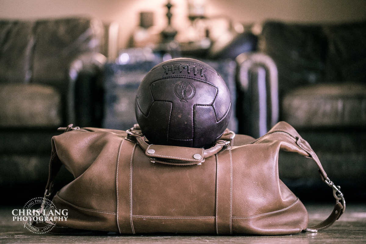 Vintage cowhide leather soccer ball - Modern Vintage Player - Sports Memorabilla -  Sporting goods for interior design - man caves - Chris Lang Photography