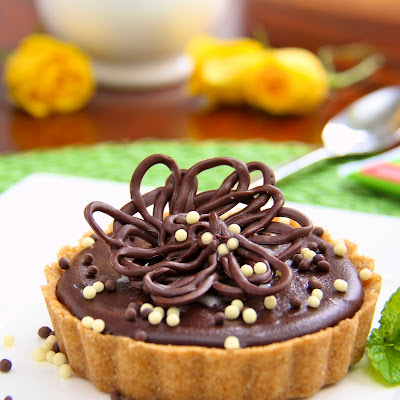 Peanut Butter Tart with Shortbread Crust and Chocolate Ganache