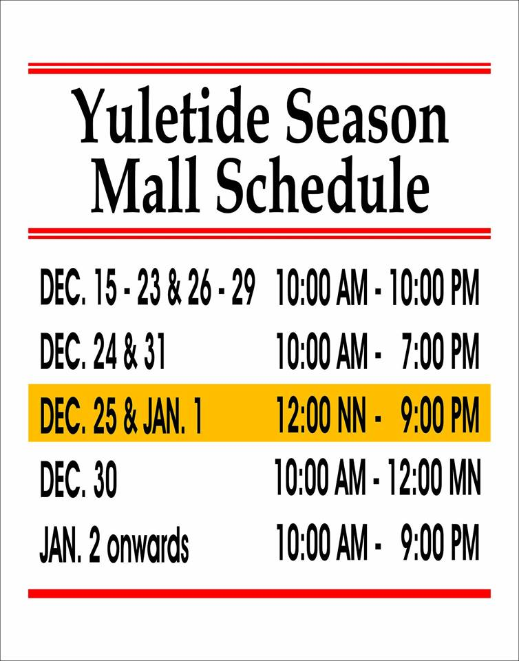 2017 Holiday Store Shopping Mall Hours | Lobster House