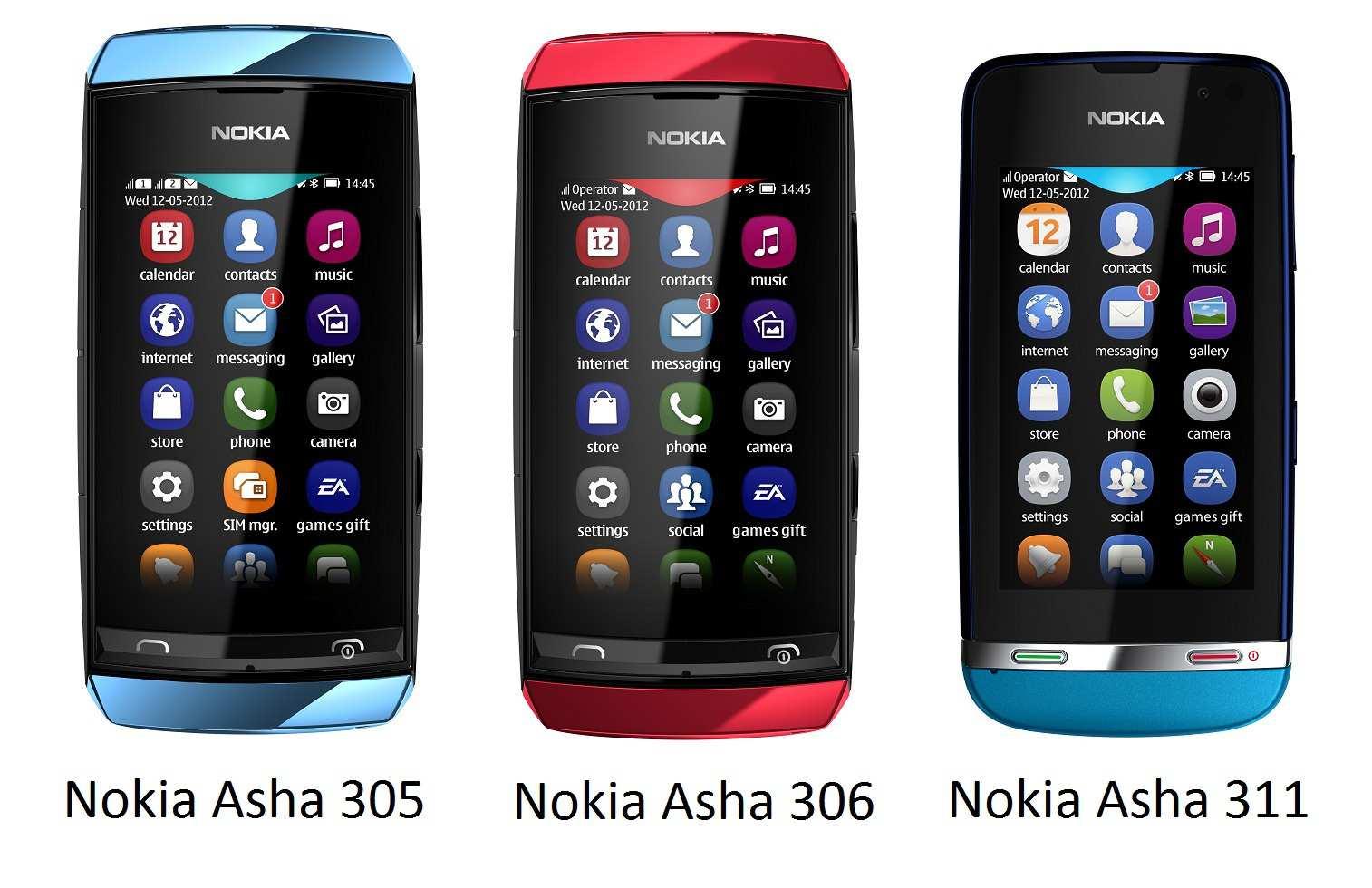 Noka Asha 311, Asha 305 and Asha 306 Handset phone latest Series for Nokia  Asha