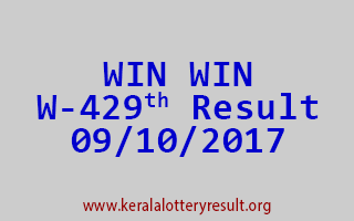 WIN WIN Lottery W 429 Results 9-10-2017