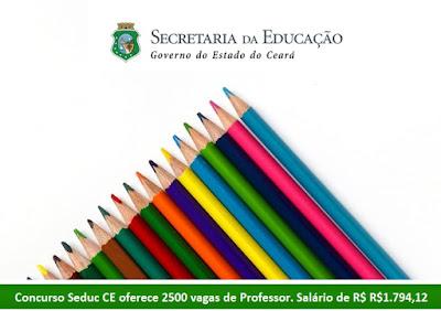 Concurso Seduc CE oferece 2500 vagas para Professor