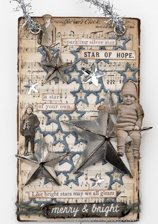 Layers of ink - Sparkling Silver Star Christmas Ornament by Anna-Karin Evaldsson with Tim Holtz Sizzix Dimensional Stars