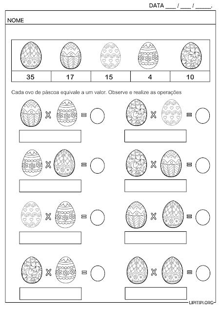 Atividade Multiplicação Ilustrada Ovos de Páscoa