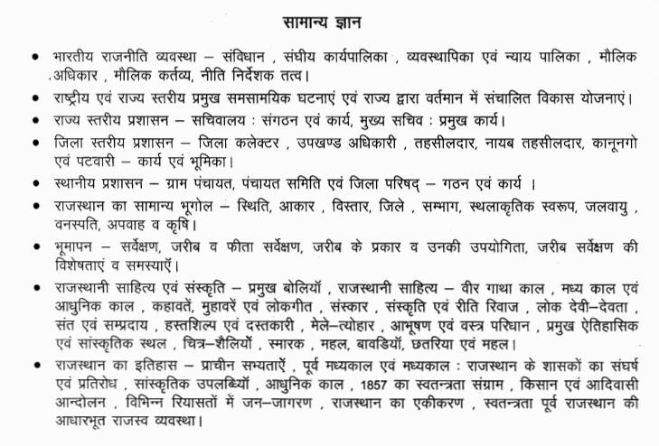 Rajasthan Patwari General Studies Syllabus