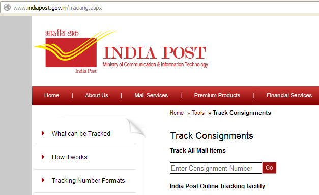 india post speed post tracking current status