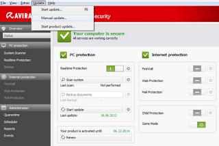 cara mudah update software Avira Antivirus offline terbaru