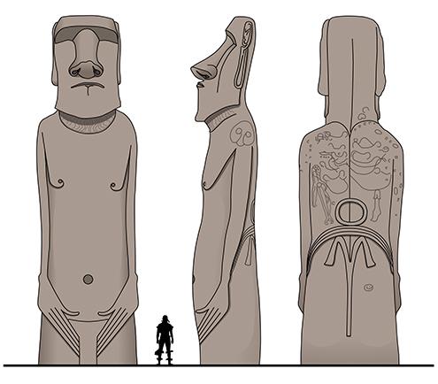 moai rano raraku volcan terminal dibujo drawing inkscape isla de pascua altura fecha easter island boceto dimensiones medidas tipos de chile historia misterio material piedra