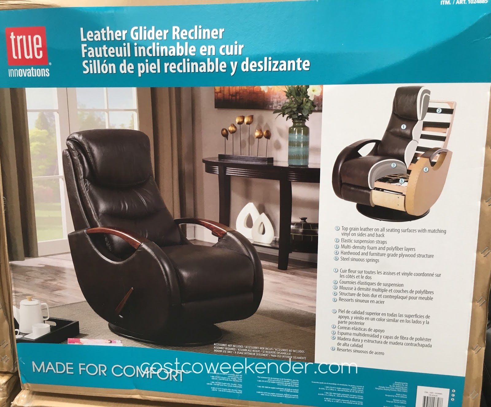 Costco 1024885   Relax In Style With The True Innovations Leather Swivel  Glider Recliner