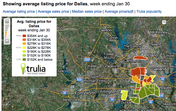 Greater Dallas Map.Trulia Heat Map Shows Dallas Average Home Prices By Neighborhood