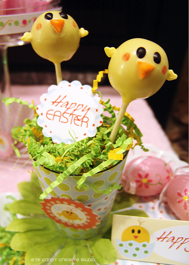 little chick cakepops, terri's treasures, cakepops for easter