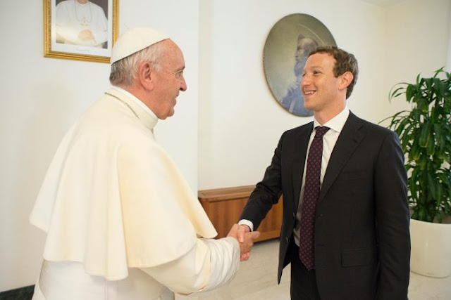 Pope Francis during a meeting with Facebook founder and CEO Mark Zuckerberg