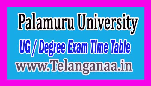Palamuru University PU UG / Degree (CBCS) 1st Year Is Sem Time Table 2016