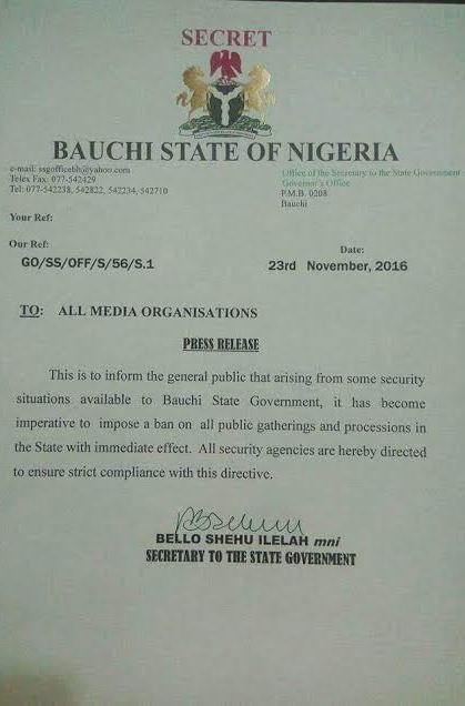 Security: Bauchi State Govt impose ban on public gatherings and processions with immediate effect