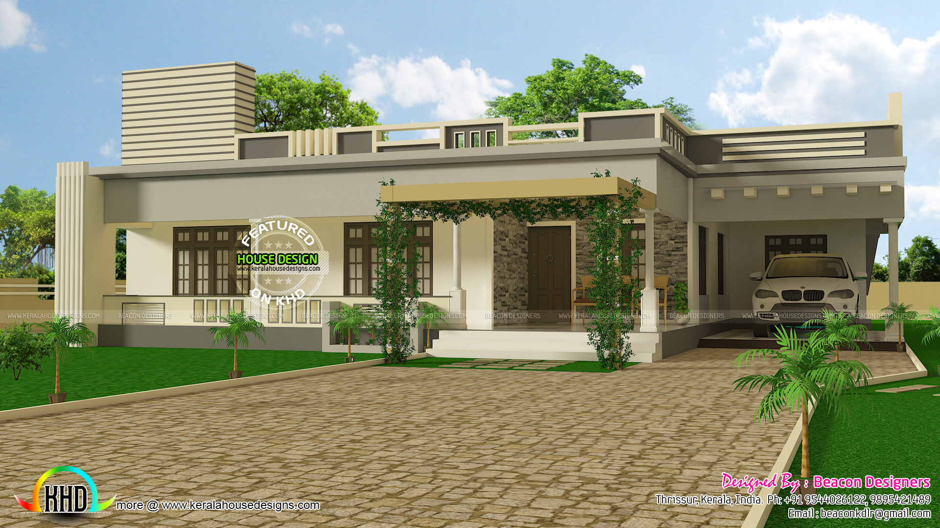 Great 1448 Sq Ft Single Floor Flat Roof Home
