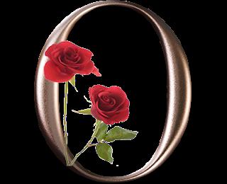 Abecedario Metalizado con Rosas Rojas. Metallic Alphabet with Red Roses.