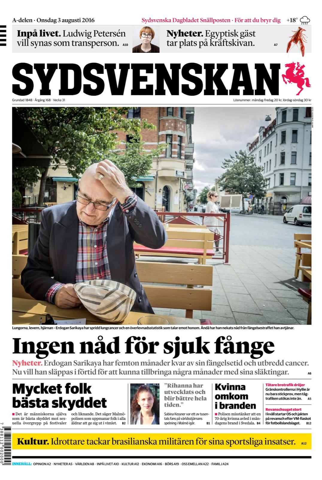 8d6c2d85417 En av de intagna på Tygelsjöanstalten utanför Malmö har bara en liten chans  att överleva fängelsestraffet. Erdogan Sarikaya har långt gången lungcancer.