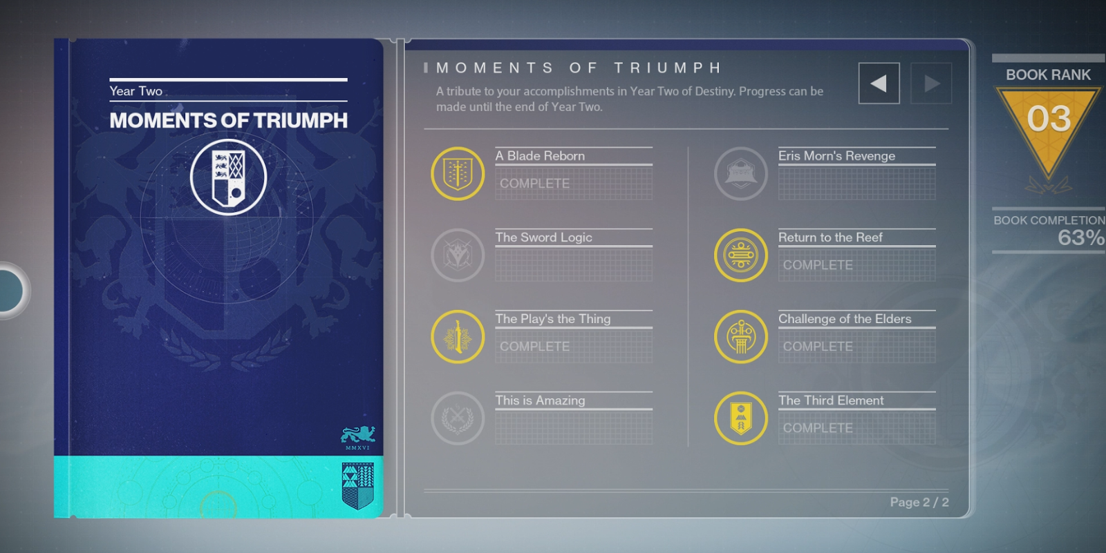 destiny year 2 yearbook is now out in the form of moments of