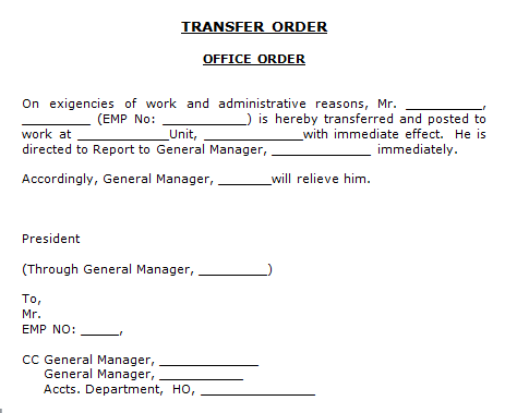 Sample Job Transfer Letter | Sample Resume Pdf Download