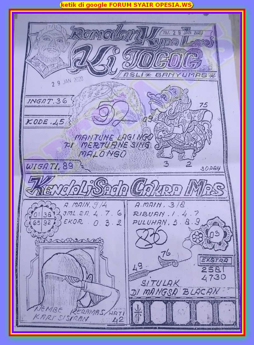 Kode syair Hongkong Rabu 29 Januari 2020 60
