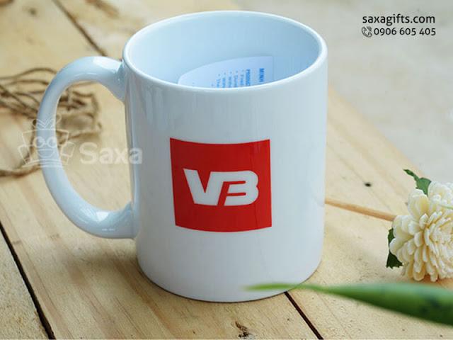 Ly sứ quà tặng in logo VB hiệu Minh Long – LS015