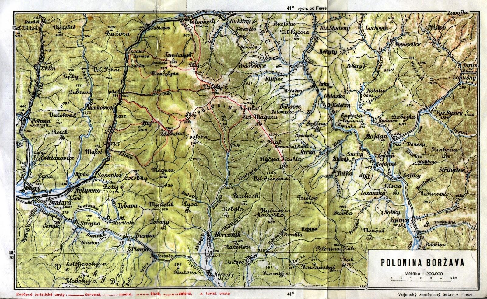 Zakarpatska Ukrajina Mapa Poloniny Borzava